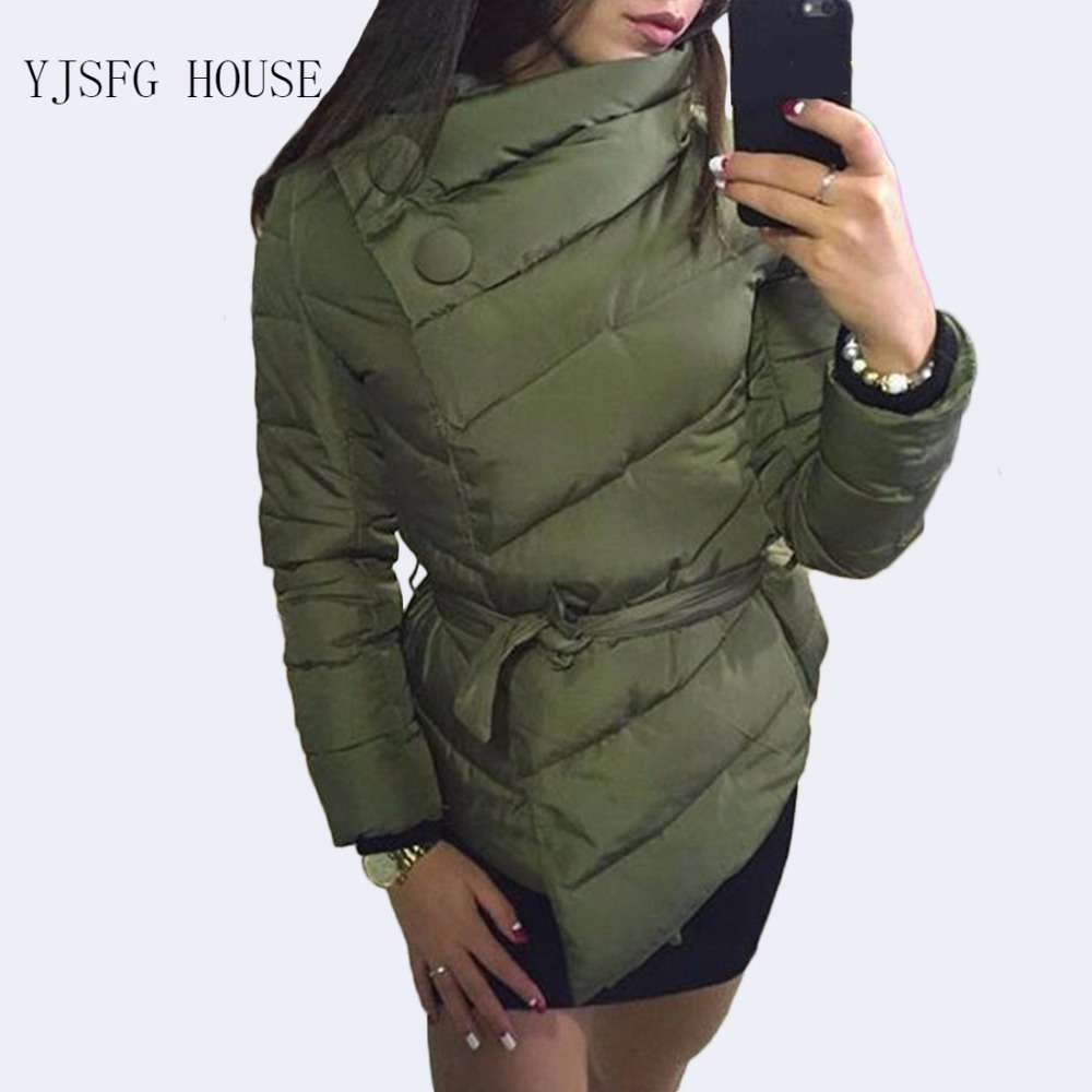 2019 New Coat High Neck Sashes Button Coats Warm Sashes Quilted Jacket Winter Single Breasted Women'S Casual Short Down   Parka