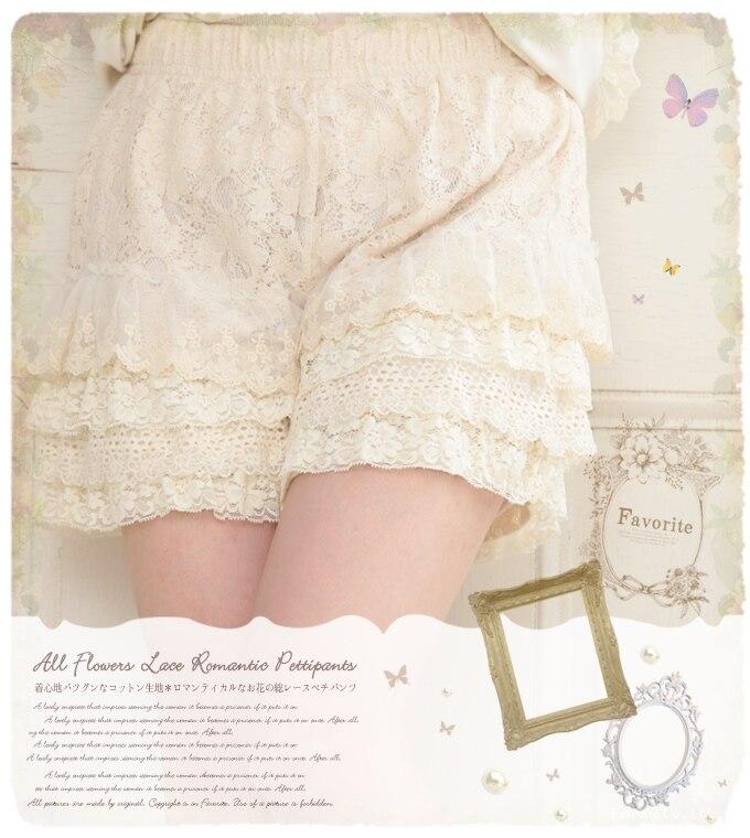 Japonês Mori Menina Lolita Bohemian Boho Doce Soltas de Algodão Elástico Na Cintura Rendas RuffleLayer Bordados Mulheres Verão Shorts Saia