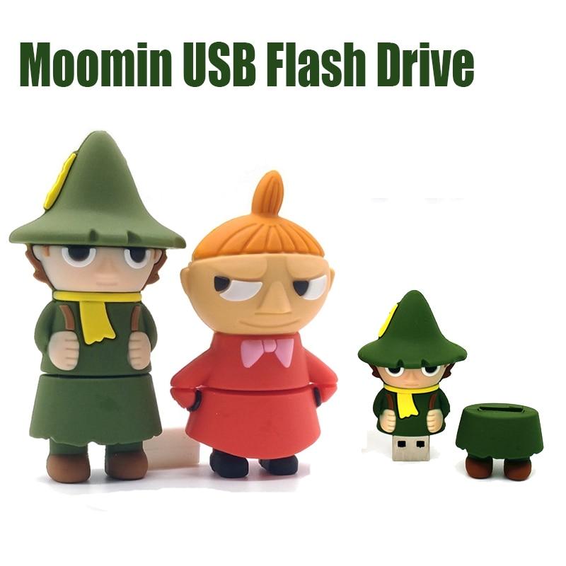 New Moomin Valley Pendrive 128 GB USB Flash Drives 128GB 64GB 32GB 16GB 8GB Pen Drive Personalizado USB Flash Dsik Memory Stick
