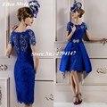 Azul real de la Madre de la Novia Vestidos de Novia Banquete de Boda Del Verano 2017 de Encaje Desmontable Falda de Moda Hermoso Vestido de Madrina