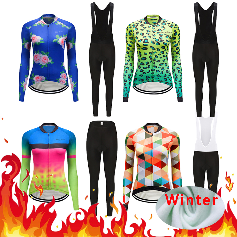 Women's Winter Thermal Fleece Racing Bike Jersey Sets 2018 Female Bicycle Clothes Kit Wear Cycling Clothing Suit Maillot Uniform