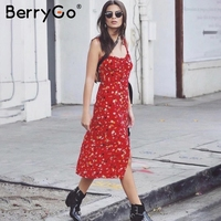 BerryGo Strap Print Chiffon Summer Dress Women Floral Backless Red Long Dress 2018 Casual Boho Vestidos