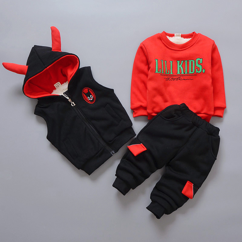 Free shipping 2018 new winter 3pcs sets  baby boys cashmere thickened vest 3pcs suits 2016 winter new soft bottom solid color baby shoes for little boys and girls plus velvet warm baby toddler shoes free shipping