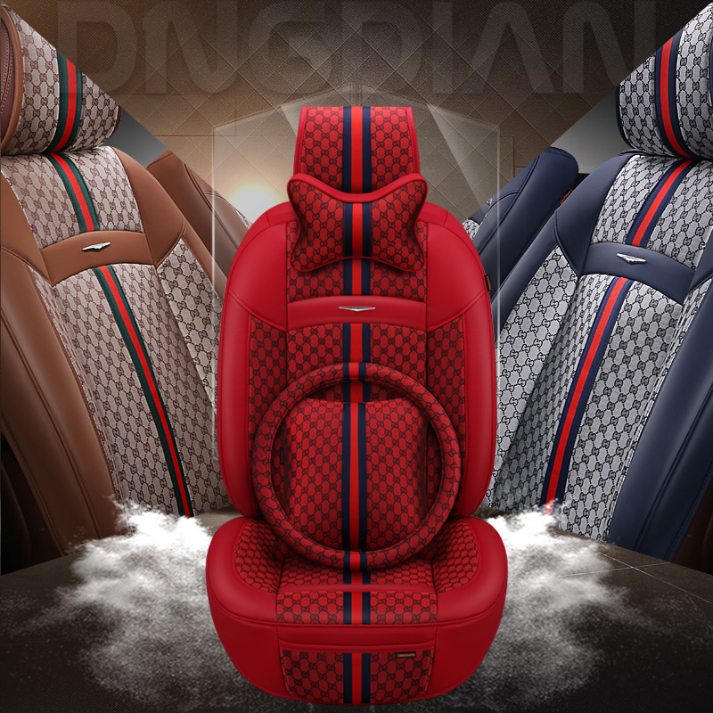 2019 New 6D Car Seat Cover Senior Flax Leather Sport Car Styling Car Styling Universal Seat