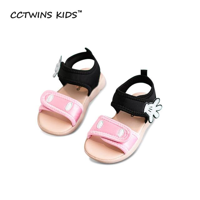 CCTWINS CRIANÇAS Verão 2017 do Garoto Algodão Vermelho Crianças Moda Preto Sapato Criança Praia Menina de Bebê Da Marca Rosa Mickey Sandália B671