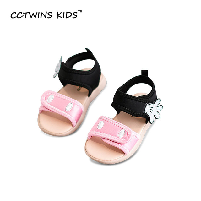 CCTWINS KIDS 2017 Summer Kid Cotton Red Children Fashion Black Shoe Toddler Beach Brand Baby Girl Pink Mickey Sandal B671