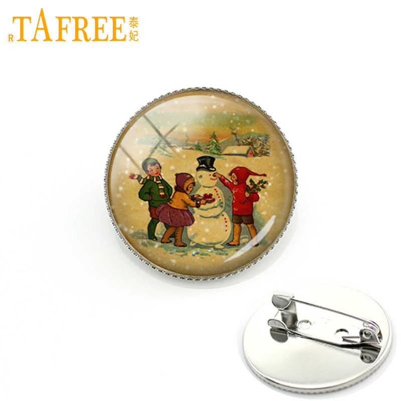 TAFREE Children Making Snowman Brooches Pins Newest Fashion Brooch For Women Dress Accessories Christmas Gift Badge Jewelry CM93