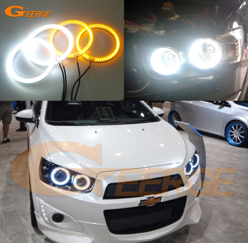 все цены на  For Chevrolet AVEO Sonic T300 2011 2012 2013 2014 Excellent Ultra bright Dual Color Switchback smd LED Angel Eyes Halo Rings kit  онлайн
