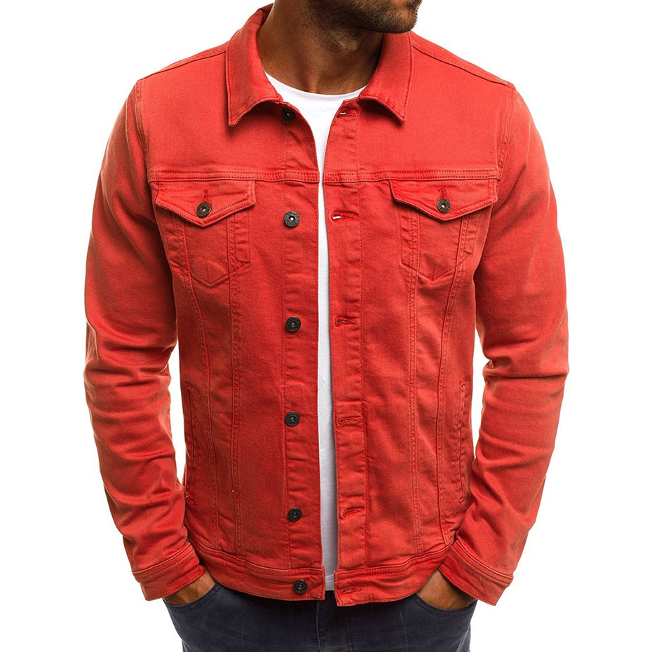 Zogaa springtime new denim jacket solid color simple brand real time men 39 s casual slim denim jacket 6 color plus Denim jacket in Jackets from Men 39 s Clothing
