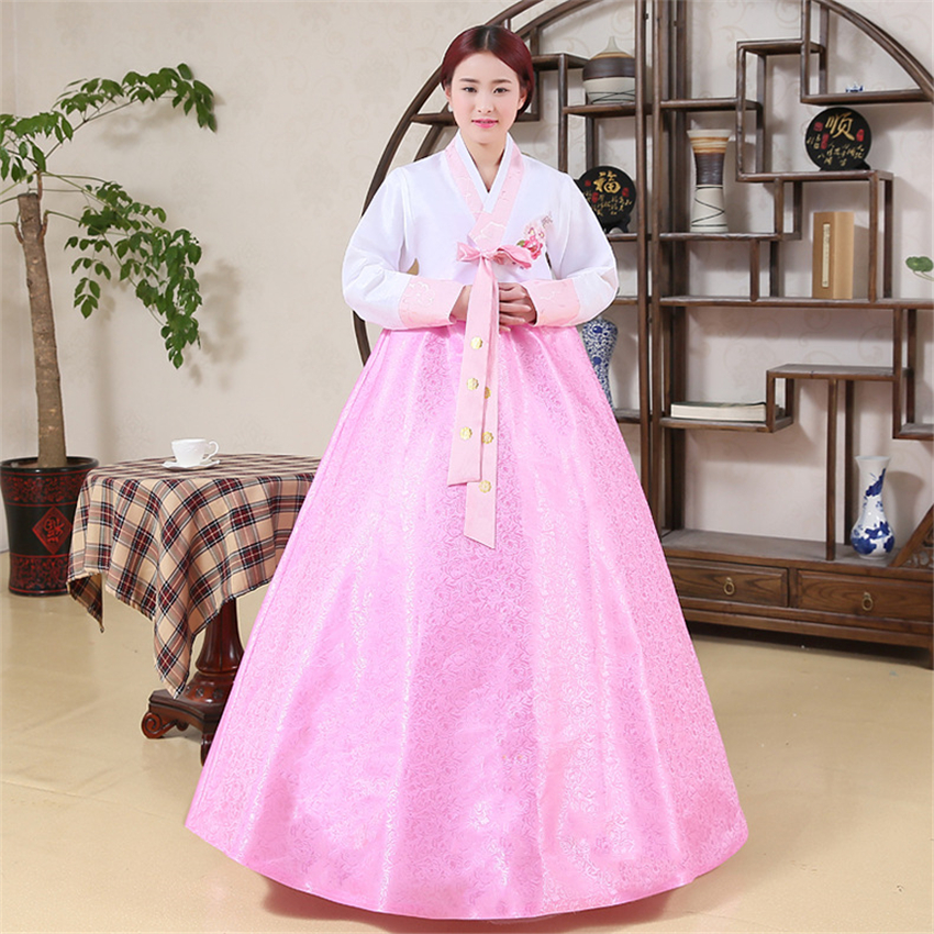 Minority Oriental Woman Hanbok Traditional Korean Elegant Court Embroidery Dance Performance Costumes Cosplay Wedding Dress
