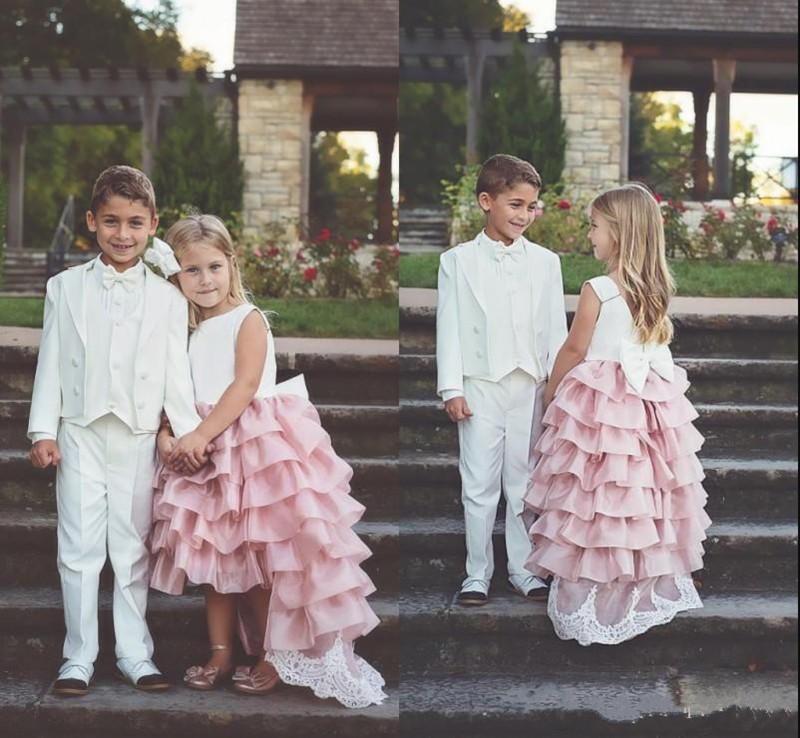 High Low Tiered Satin   Flower     Girl     Dress   with Bow Lace Appliques V-Back Custom Made   Girls   Foraml Wears Sleeveless Kids Prom   Dress