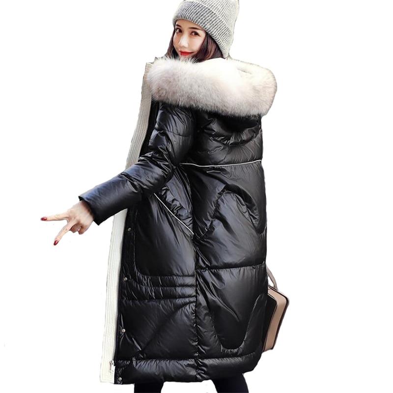 High quality   Down   Jacket Women 2019 Winter Raccoon Dog Fur collar Hooded   Coat   Thick Warm Female White duck   down   Long   Coats   A2397