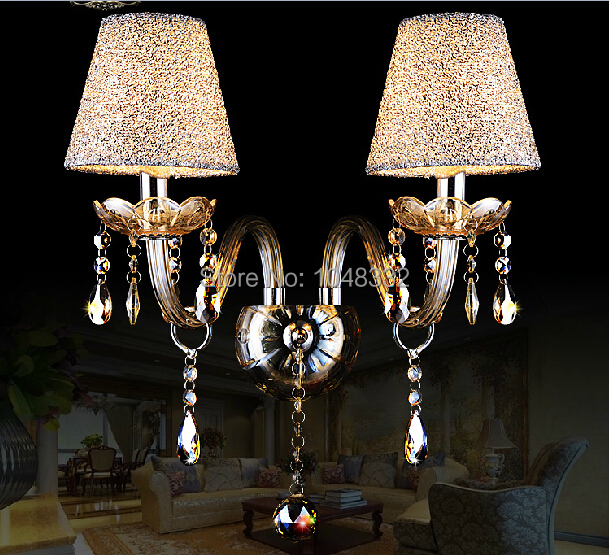 Modern 2 Heads Crystal Wall Lamp Luxury European Style Crystal Wall Lights Cognac Lampshade Sconce For Bedroom E14 Lamp Fixture