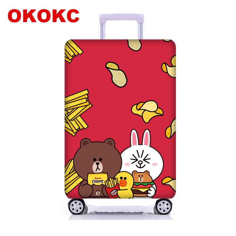 OKOKC Potato Chips&Bear Suitcase Protective Trunk Covers Apply To 18~32Inch Case Elastic Travel Luggage Cover Stretch Case Cover
