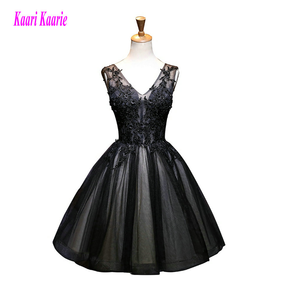 c43b0fb6648 Sexy Black Prom Dress Short 2018 Prom Dresses Plus Size V-Neck Tulle  Appliques Lace-Up Built-In Bra Women Party Gowns Evening