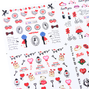 Image 3 - 12pcs Romantic Valentines Water Decals Sliders Nail Art Decorations Stickers Sexy Lips Flower Heart Tattoo Wraps JIBN1069 1080