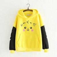 Anime Pocket Monsters Pikachu Autumn Hoodies for Women Hooded Patchwork Pullover Hoody Women Fleece Sweatshirt Tops