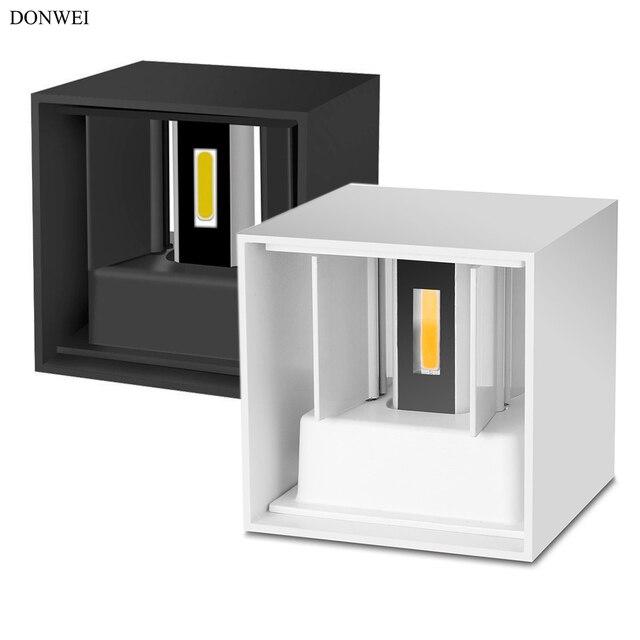 DONWEI בית תפאורה 12 w COB LED מנורת קיר מקורה חיצוני פשוט סגנון אלומיניום קיר אורות חדר שינה מסדרון מרפסת מרפסת