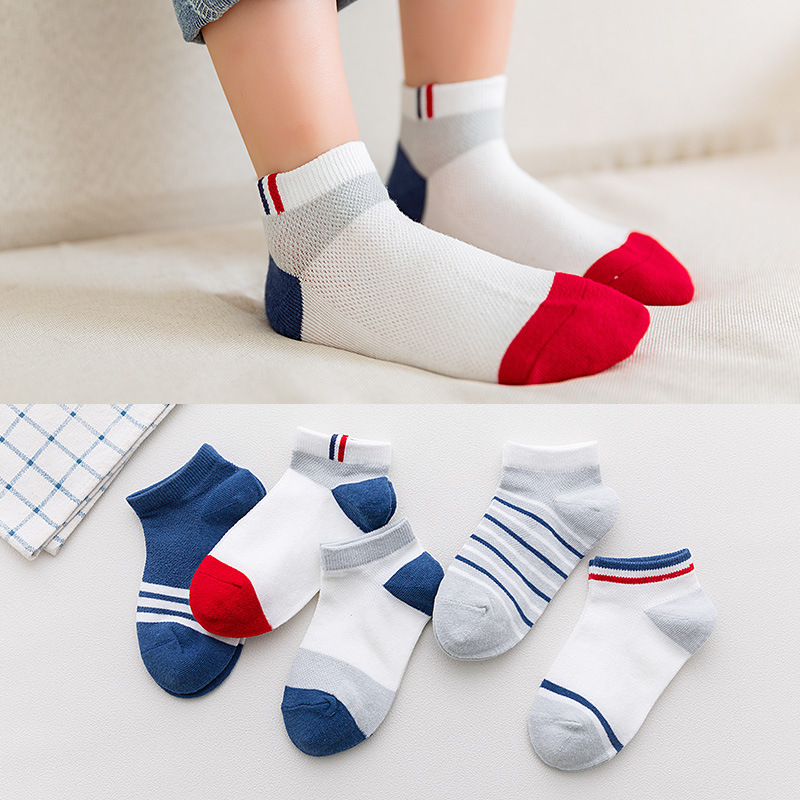 Comfortable Socks-Set Girls Boys Kids Cotton Children Summer 5-Pairs/Lot New Short Thin