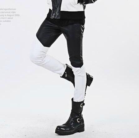 Jazz Pantalones Black De Stitchin Patchwork White Pantalones Cuero Danza Y 29 Moda Hombres Masculinos Trajes Blanco Espuma Ds Traje 32 Los Negro nwqFaHgP