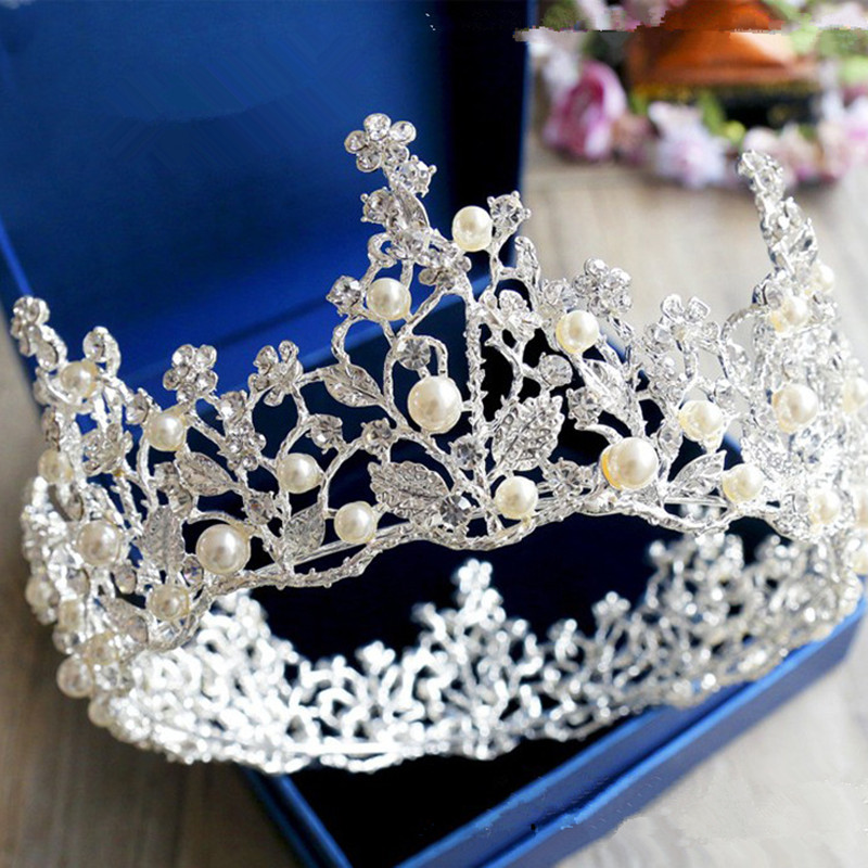1pc Vintage Round Big Crown Bridal Pearl Headband Hair Accessories For Wedding Tiaras Pageant Party Jjewelry BBB0189