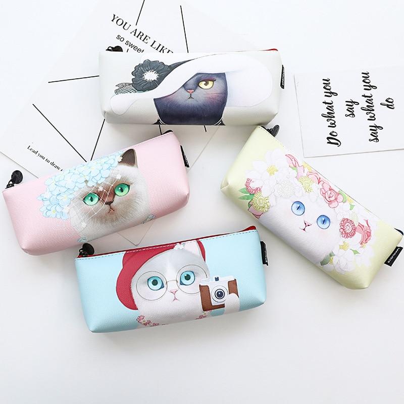 все цены на Fashion Cat PU Pencil Bag Stationery Storage Organizer Bag School Office Supply Escolar Papelaria