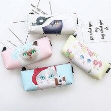 Модные Cat ПУ Карандаш сумка Канцелярские хранения Организатор сумка Школа канцелярских товаров Эсколар papelaria