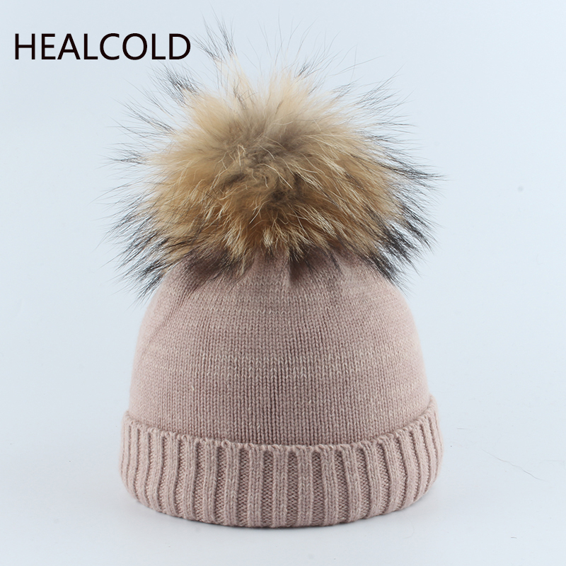 Winter Hat For Children Baby Wool Beanies Girls Knitted Warm Hats Real Fur Pompom Hat Kids Boy 2019(China)