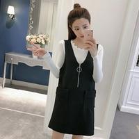 2017 New Autumn Women Dress Knitting O Neck Straps Lace Suits Dresses Black 8160