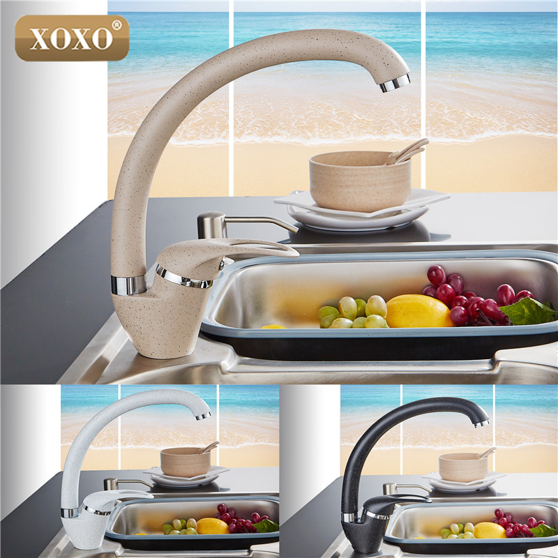 XOXO  Modern Style Home Multi-color Copper Kitchen Faucet Cold And Hot Water Tap Single Handle Black White Khaki 3309BE