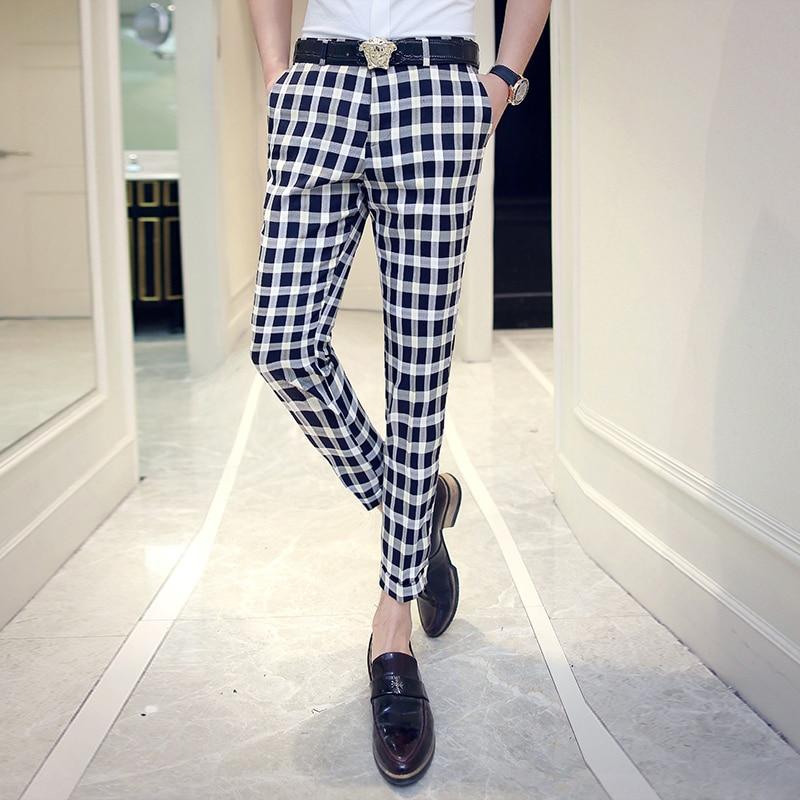 2018 new summer men's plaid casual pants Korean Slim pants hairstylist men's wild pants tide