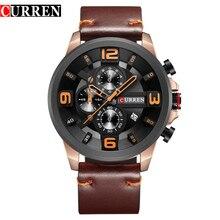 יוקרה מותג CURREN חדש אופנה ספורט שעוני יד עור באיכות גבוהה רצועת הכרונוגרף זכר שעון לוח שנה מקרית גברים שעונים