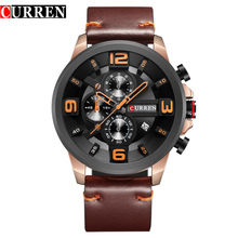 Luxury Brand CURREN New Fashion Sports Wristwatch High Quality Leather Strap Chronograph Male Clock Calendar Casual Men Watches