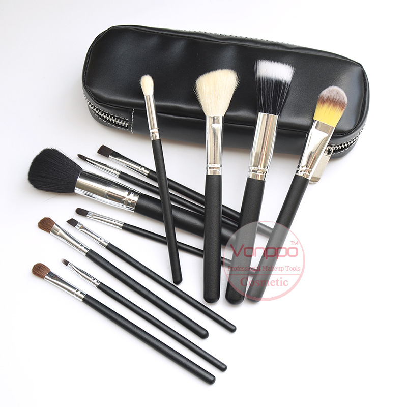 Free Shipping New Brand Makeup Brushes 12Pcs Natural Hair Cosmetics Set with PU Leather Bag High Quality Make Up Brush Set 11pcs blue new high quality brand fashion profesional brushes multi function combination makeup kits hot sale free shipping