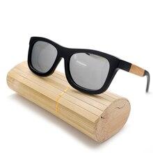 BOBO VOGEL BX36 Schwarz Holz Bambus Polarisierte Sonnenbrille Mens Beschichtung Gespiegelt Silber Gläser Uv-schutz Brillen in Original Box
