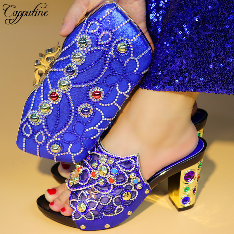 Capputine New Italian Design Rhinestone Shoes With Bag Set African Style High Heels Woman Shoes And Purse Set For Party Dress italian visual phrase book