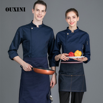 Hotel men's food chef kitchen jacket white shirt long sleeves restaurant uniform chef costume women's cook jacket 4-color