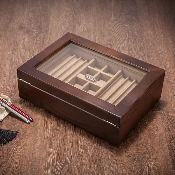 Bois massif signature stylo boîte collier bracelet boutons de manchette bijoux boîte de rangement bureau table organisateur pour la maison décorative MSSH014 - 5