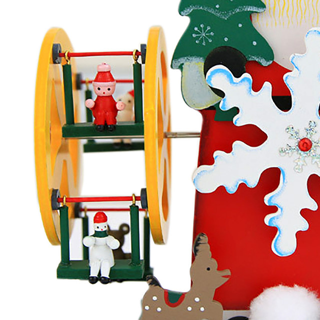 xmas decoration fashion rotating christmas snowmen santa claus ferris wheel gift music box indoor christmas decoration - Christmas Ferris Wheel Decoration