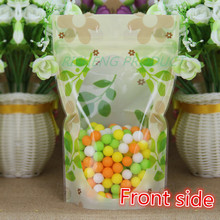 14*20+4cm, Flower printing bag,100 X Stand up Green printed Zip Lock bags with clear window - Reusable plastic pouch Zipper seal