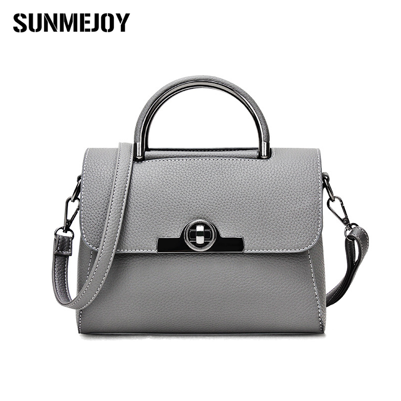 SUNMEJOY New Mini Luxury Vintage Casual Leather Handbags High Quality Cross Metal Lock Bag Women Messenger