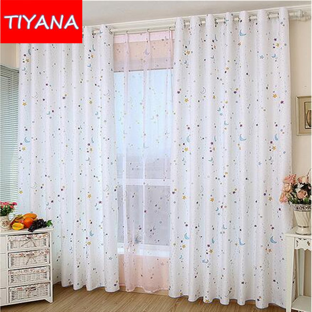Colorful Stars Moons Curtains Kids Cartoon Tulle For Living Room Semi Blackout  Curtains Drape For