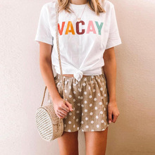 2019 Hot Selling Women Summer White Casual Letter Printed Short Sleeve Shirt Tshirt Tees Sexy Tops