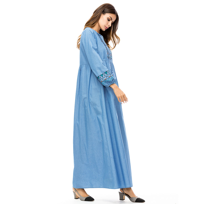 e4cd3c79747 MISSJOY Denim Dress abaya Embroidered dubai Women Long Sleeve Geometric  Muslim Islamic New dress Plus Size Autumn winter 2018-in Islamic Clothing  from ...