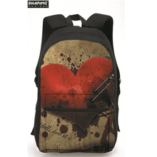 Мода 2017 г. рюкзак милые сердца печати женские дорожные backbag, девочки школьные сумки детей школьные рюкзаки ноутбук