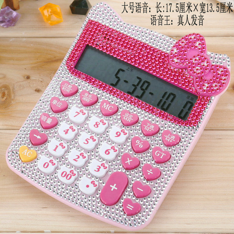 ФОТО 12 Digit Solar Pink Cute Luxury Rhinestone Crystal Diamond Hello Kitty Calculator Dual Power Calculadora