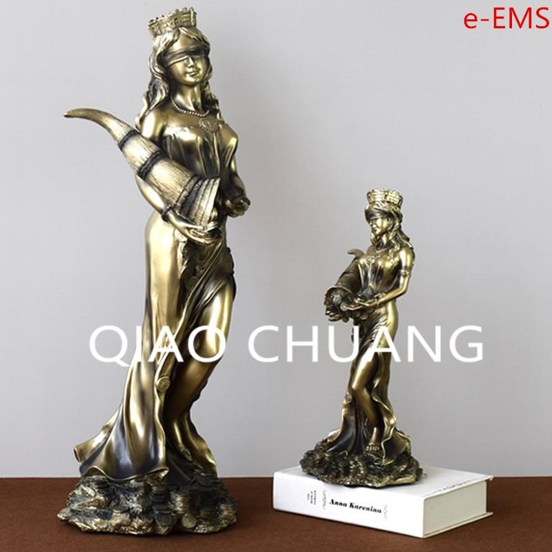 Creative Greek Mythology The Goddess Of Fortune Resin Craftwork Figure Sculpture Living Room Decoration G1455 treas of norse mythology