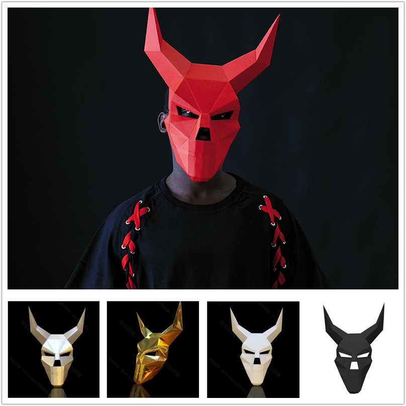 3D Corner Skull Devil Devil Paper Mask Mask Diy Male Whole Face Horror Halloween Pack Party Makeup Home Decoration Accessories