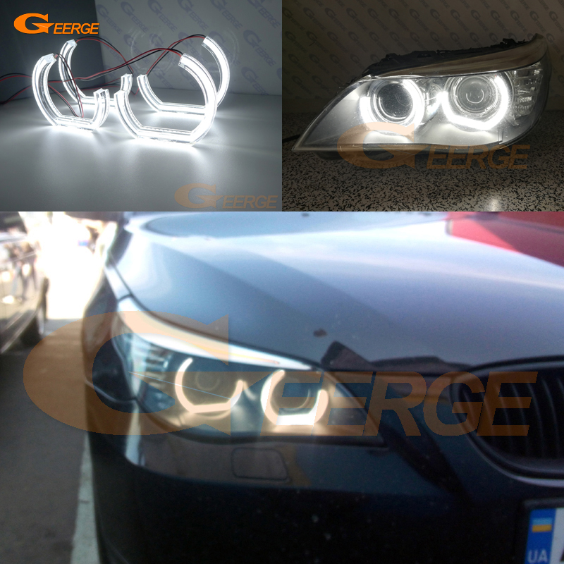 For BMW 5 SERIES E60 E61 LCI 525i 528i 530i 545i 550i M5 2007-2010 Xenon headlight Ultra bright DTM M4 Style led Angel Eyes kit for bmw 5 series e60 e61 lci 525i 528i 530i 545i 550i m5 2007 2010 xenon headlight dtm style ultra bright led angel eyes kit page 3