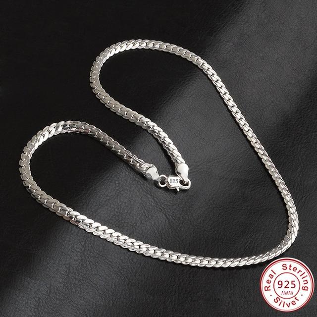 Customizes 925 Sterling-silver-jewelry Tone men Chain women,5MM all side Male Ne